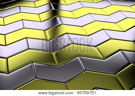 Metal With Gold Arrow Blocks Flooring Diagonal View
