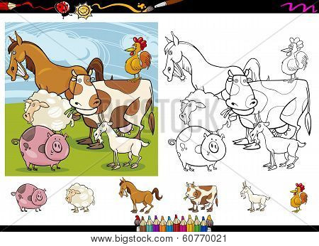 Farm Animals Cartoon Coloring Page Set