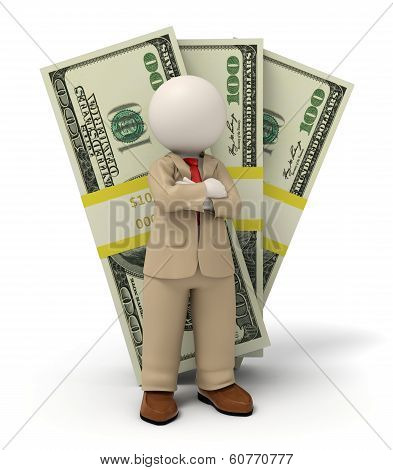3D Business Man In Beige Suit - Pack Of Money