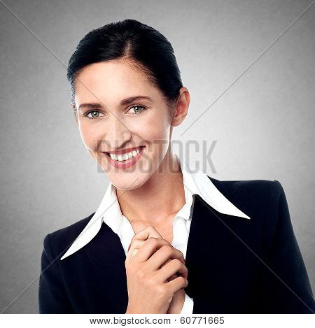 Closeup Portrait Of Smiling Business Woman