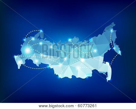 Russia Country Map Polygonal With Spot Lights Places