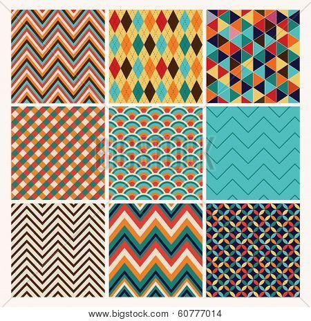 Seamless geometric hipster background set.