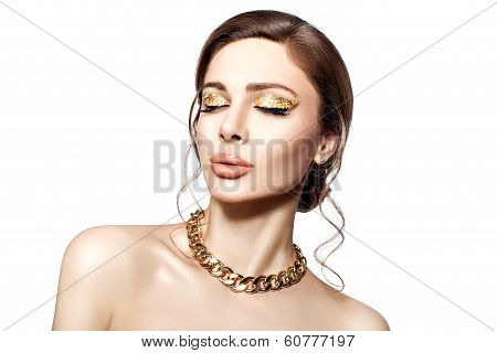 Beautiful Portrait Of A Girl With Gold.