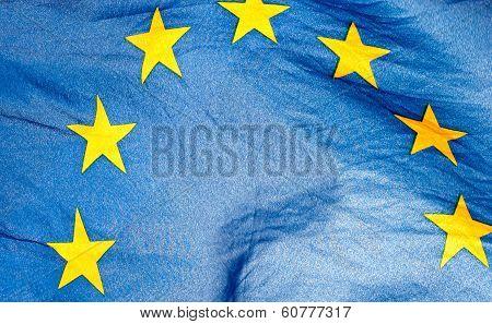 Fragment Of The Waving European Union Flag
