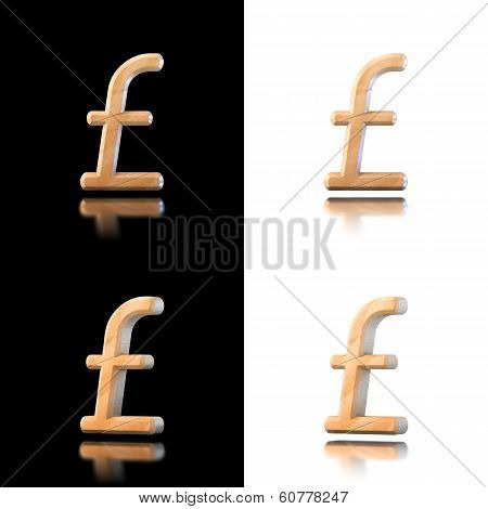 Three Dimensional Wooden Pound/sterling Symbol. Isolated On White And Black.