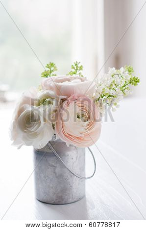 Bouquet Of Flowers In Can