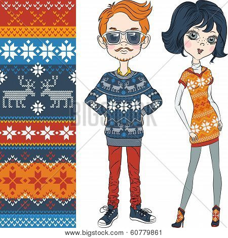Vector Fashion Hipster Boy And Girl In Knitted Sweaters