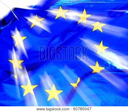 Waving European Union Flag In Sunlight