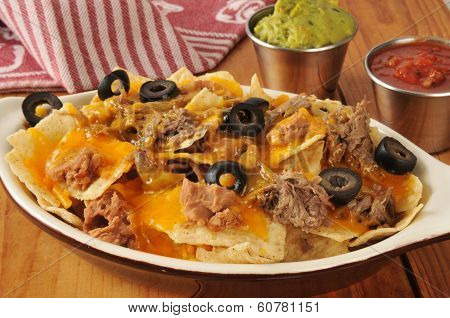 Beef, Bean And Cheese Nachos