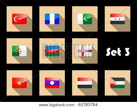 Set of flat flag icons of Eastern countries