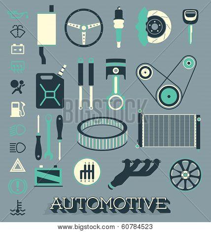 Vector Set: Automotive Parts Icons and Symbols