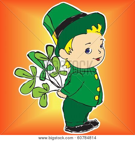 boy in a dress with bouquet of Irish clover