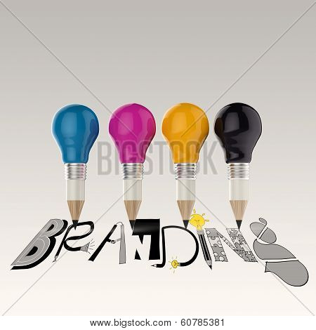 Hand Drawn Graphic Word Cmyk And 3D Cmyk Pencil Light Bulb As Concept