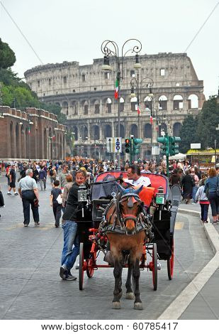 Horse Ride Outside The Colosseum, Rome Italy