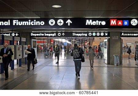 Termini Train Station With Signs For Fiumicino Airport, Rome Italy