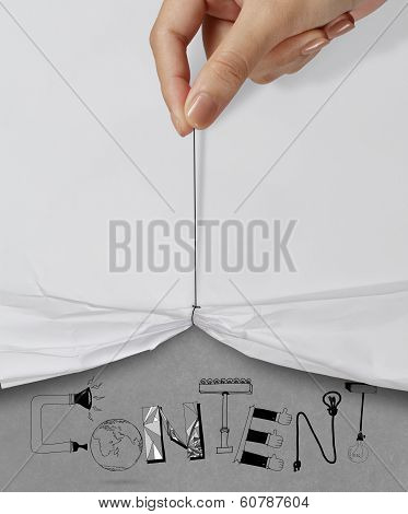 Business Hand Pull Rope Open Wrinkled Paper Show Content Design Text As Concept