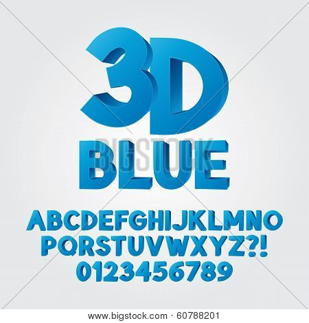 Abstract Blue 3D Plastic Alphabet