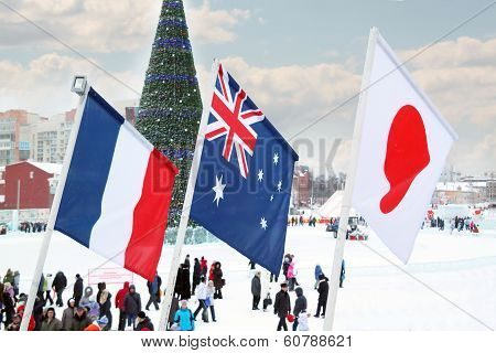 Perm, Russia - Jan 6, 2014: Flags Of Participating Countries (france, New Zealand, Japan) Of Winter