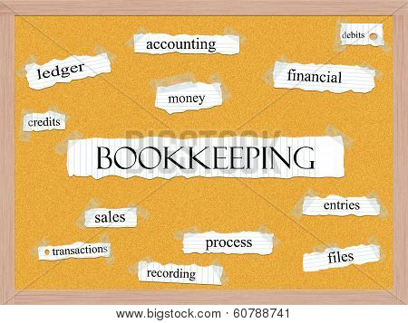 Bookkeeping Corkboard Word Concept