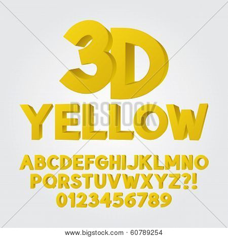 Abstract Yellow 3D Plastic Alphabet