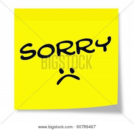 Sorry Sad Face Sticky Note