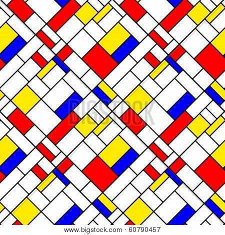 Colorful diagonal geometric squares mondrian style seamless pattern, vector