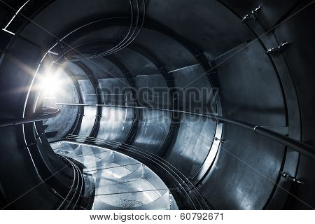 Abstract Underground Industrial Sewerage, Metal Tunnel Interior