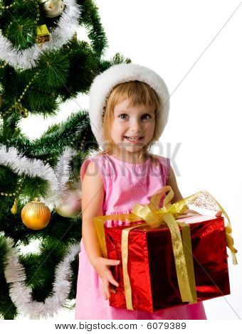 Cute Girl With Xmas Gifts