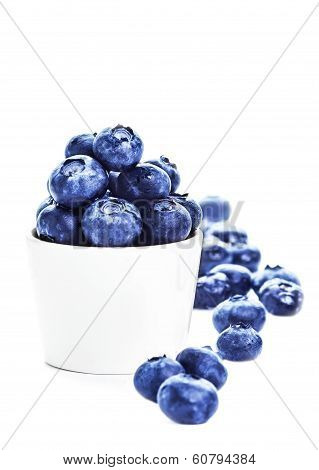 Blueberries In A Bowl Isolated On White Background Close Up. Blueberry Antioxidant Superfood Isolate