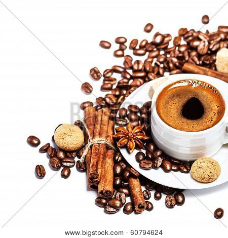 Coffee Cup With Coffee Beans And Biscotti Isolated On White Background Closeup. White Cup Of Espress