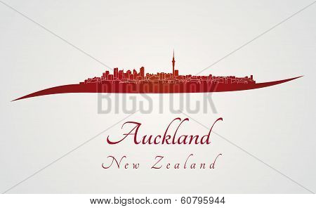 Auckland Skyline In Red