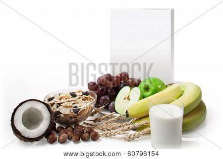 Blank Package Box With Fruit Composition