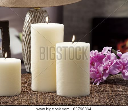 Still Life Of Home Lighting Candles Or Catalyst Lamp