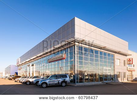 Samara, Russia - November 24, 2013: Office Of Official Dealer Mitsubishi Motors.  Mitsubishi Motors