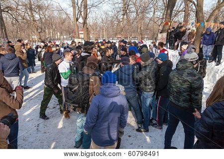 Russia, Samara - March 2, 2014: Samara Youth Celebrates Shrovetide. Maslenitsa Or Pancake Week Is Th