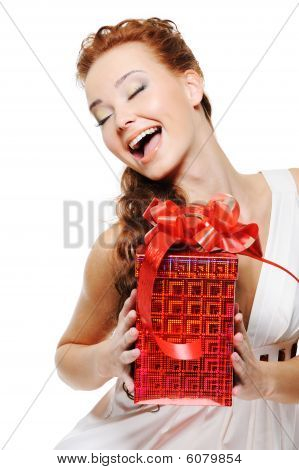 Happiness Of A Beautiful Woman Holding The Red Box