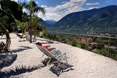 foto of south tyrol  - In the Botanical Gardens of Merano people lying in lounge chairs under palm trees - JPG