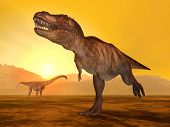 foto of tyrannosaurus  - Computer generated 3D illustration with the Dinosaurs Tyrannosaurus Rex and Puertasaurus at sunset - JPG