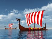 stock photo of viking ship  - Computer generated 3D illustration with two Viking Ships - JPG