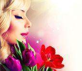 stock photo of cheer-up  - Beauty Woman with Spring Flower bouquet - JPG