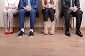 stock photo of recruiting  - Business people waiting for job interview - JPG