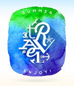 picture of blue things  - Summer travel greeting with summer things against a watercolor background  - JPG