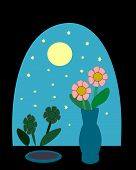 pic of moon-flower  - Night sky with moon and stars as seen from a window with 