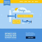 Modern Flat Vector Website Template With Planes Displaying Responsive Design