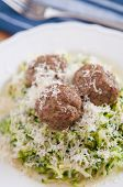 stock photo of meatballs  - Zucchini Pasta Noodles with meatballs and parmesan cheese - JPG