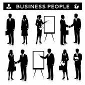 image of collaboration  - Flipcharts with business people silhouettes talking handshaking and collaborating vector illustration - JPG