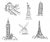 stock photo of moulin rouge  - Black and white doodle sketch set of famous world landmarks including the Leaning Tower of Pisa - JPG