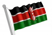 Kenya Flag On Pole