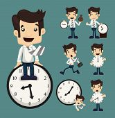 stock photo of watch  - Set of businessman and clock eps10 vector format - JPG