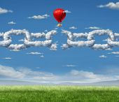 image of shackles  - New Markets Breakthrough business concept as a group of clouds shaped as a linked chain being broken throgh by a businessman in a hot air balloon as a success metaphor for freedom from the shackles of repression and dirty air - JPG